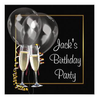 Gold schwarze Champagne bemannt Geburtstags-Party Personalisierte Einladung