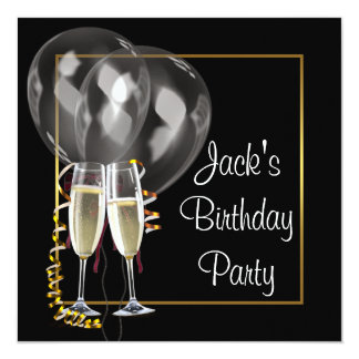 Gold schwarze Champagne bemannt Geburtstags-Party Quadratische 13,3 Cm Einladungskarte