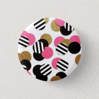 Gold, Schwarzes und Rosa-Punkt-Knopf Runder Button 3,2 Cm