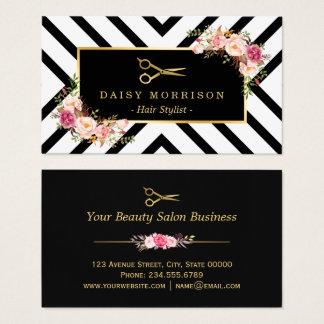 Gold Scissors Blumenhaar-Stylist-Schönheits-Salon Visitenkarte