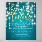 Gold Signature Cocktail Drink Menu Wedding Decor Poster