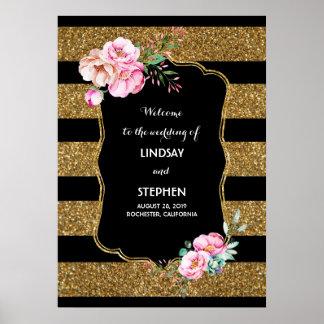 Gold Stripes rosa schwarzes Hochzeits-mit Poster