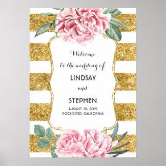 Gold Stripes rosa weißes Hochzeits-mit Poster