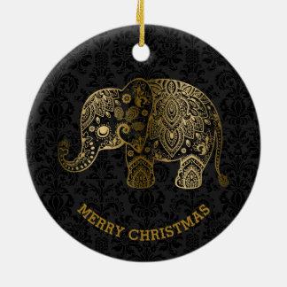 Gold tont Blumenelefanten auf schwarzen Damasten Keramik Ornament