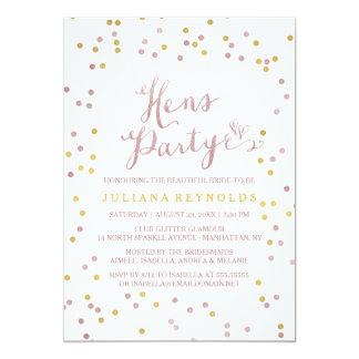 Gold u. rosa Confetti-Henne-Party Einladung 12,7 X 17,8 Cm Einladungskarte