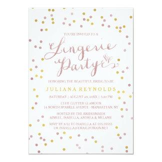 Gold u. rosa Confetti-Wäsche-Party Einladung 12,7 X 17,8 Cm Einladungskarte