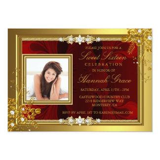 Gold u. rotes BlumenFoto 16. Geburtstag laden ein Karte