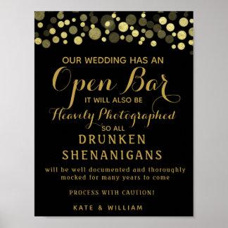 Gold u. Schwarz-offenes Bar, das Zeichen wedding Poster