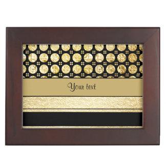 Gold u. schwarze Streifen und Glitter-Stellen Erinnerungsdose