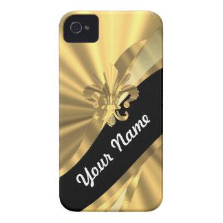 Gold u. schwarzer Fleur de Lys Case-Mate iPhone 4 Hüllen