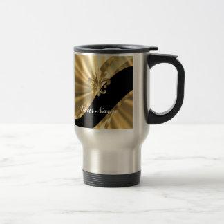 Gold u. schwarzer Fleur de Lys Edelstahl Thermotasse