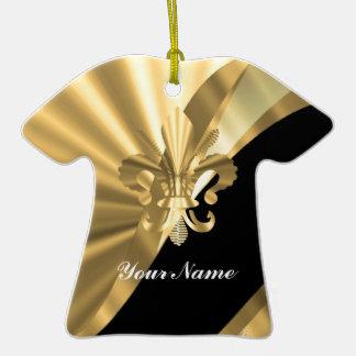 Gold u. schwarzer Fleur de Lys Keramik T-Shirt-Ornament