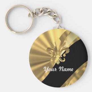 Gold u. schwarzer Fleur de Lys Standard Runder Schlüsselanhänger