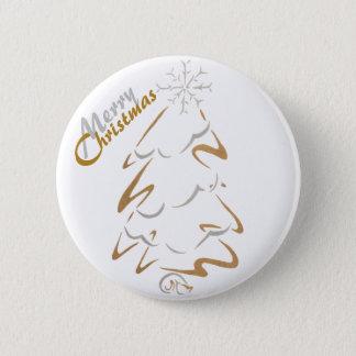 Gold-u. Silber-Weihnachtsbaum Runder Button 5,7 Cm