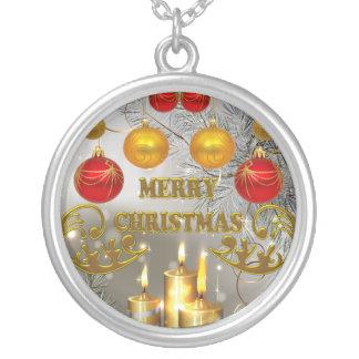Gold-u. Silber-Weihnachtskerzen u. bunte Birnen Versilberte Kette
