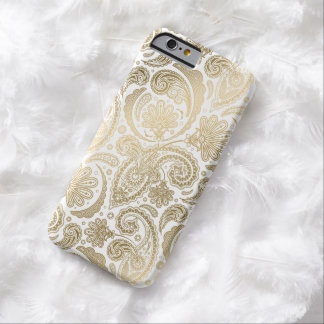 Gold u. weiße Vintage Damast-Paisley-Spitze Barely There iPhone 6 Hülle