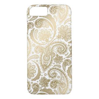 Gold u. weiße Vintage Damast-Paisley-Spitze iPhone 8/7 Hülle