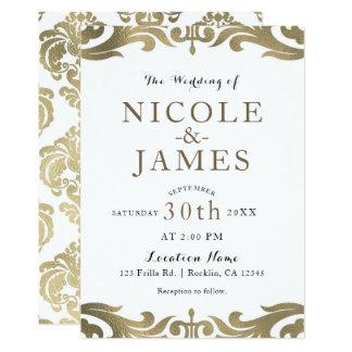 Gold-u. weißer Damast-schicke elegante minimale Karte