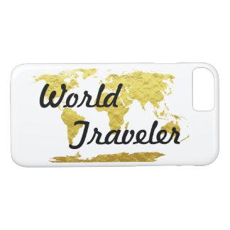 Gold u. weißer Weltkarte-Weltreisender iPhone 8/7 Hülle