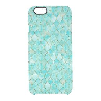 Gold- und Aqua Maroccan Muster Durchsichtige iPhone 6/6S Hülle