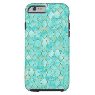 Gold- und Aqua Maroccan Muster Tough iPhone 6 Hülle