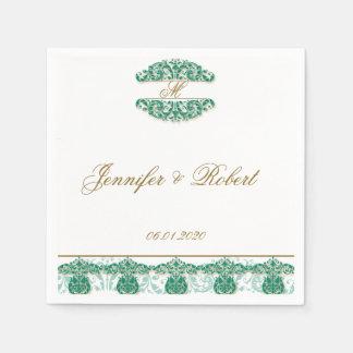 Gold und aquamarine Vintage Blumenrolle-Serviette