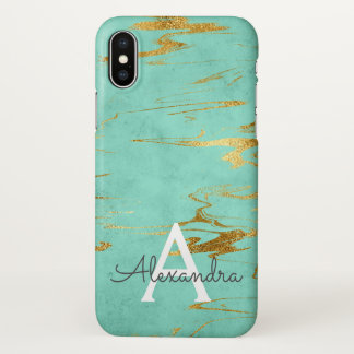 Gold und aquamariner Marmor mit Goldfolie und iPhone X Hülle