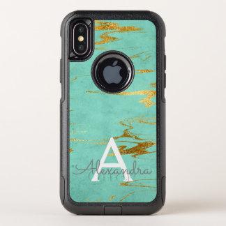 Gold und aquamariner Marmor mit OtterBox Commuter iPhone X Hülle