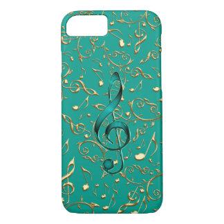 Gold-und aquamarines Musiknoten und Clefs iPhone7 iPhone 8/7 Hülle
