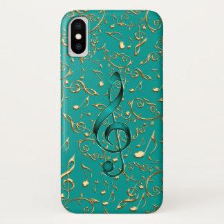 Gold-und aquamarines Musiknoten und Clefs iPhonex iPhone X Hülle