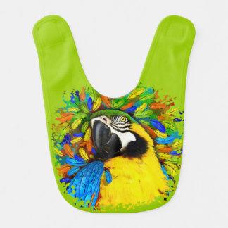 Gold und blaue Macaw-Papageien-Fantasie Baby_Bib Babylätzchen