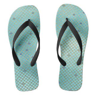 Gold und blaue Ombre Meerjungfrau-Skalen Flip Flops