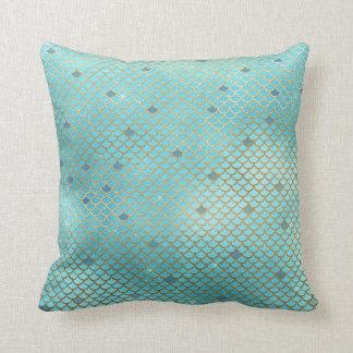 Gold und blaue Ombre Meerjungfrau-Skalen Kissen
