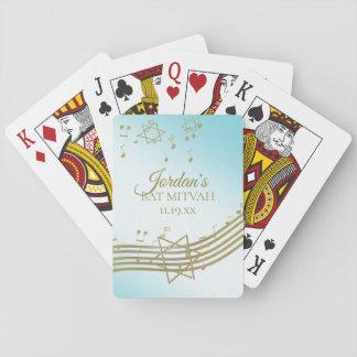 Gold und blauer Musik-Schläger Mitzvah Spielkarten