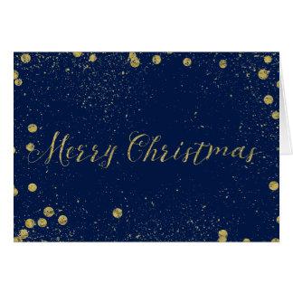 Gold und blaues Scheinconfetti-Punkt-Weihnachten Karte