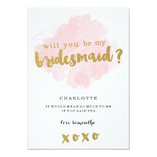 Gold und Blush sind Sie meine Brautjungfer? 12,7 X 17,8 Cm Einladungskarte