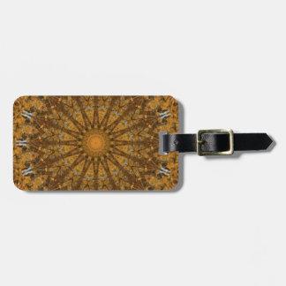 Gold-und Brown-Herbstlaub-Mandala-Kaleidoskop Gepäckanhänger
