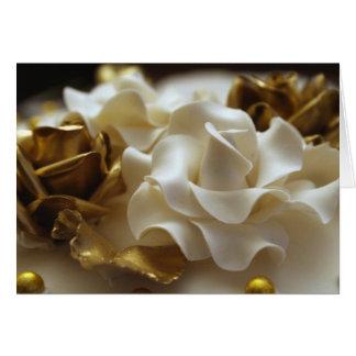 Gold-und Creme-Hochzeits-Rosen-Einladungs-Karte Karte