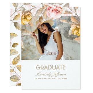 Gold und erröten Blumenwatercolor-Foto-Abschluss 12,7 X 17,8 Cm Einladungskarte