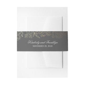 Gold und graue Vintage mit Blumenhochzeit Einladungsbanderole