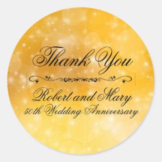 Gold und Hochzeitstag des Schwarz-50. danken Ihnen Runder Aufkleber