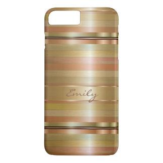 Gold-und Kupfer-Streifen mit Monogramm iPhone 8 Plus/7 Plus Hülle