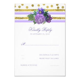 Gold und lila Blumenhochzeit UAWG Karte