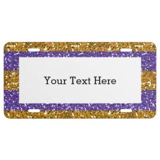 Gold und lila Glitter-Streifen gedruckt US Nummernschild