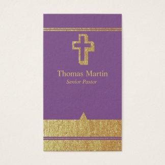 Gold und lila Pastor-Geschäfts-Karten mit Kreuz Visitenkarte
