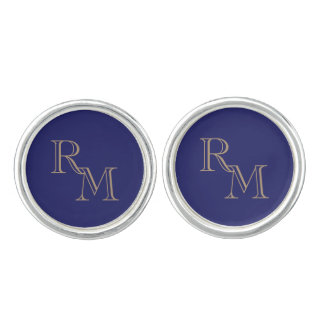 Gold-und Marine-Blau-mit Filigran geschmückte Manschetten Knöpfe