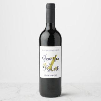Gold-und Marine-Seeanker-Hochzeits-Wein-Aufkleber Weinetikett