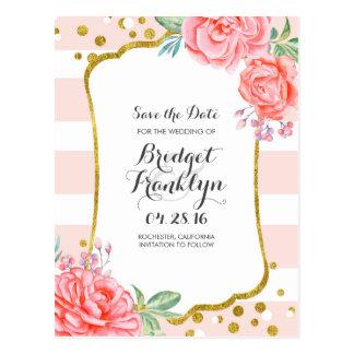 rosa gold save the date postkarten. Black Bedroom Furniture Sets. Home Design Ideas