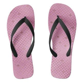 Gold und rosa Meerjungfrau-Skalen Flip Flops
