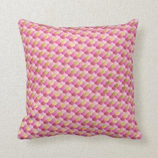 Gold und rosa Meerjungfrau-Skalen Kissen